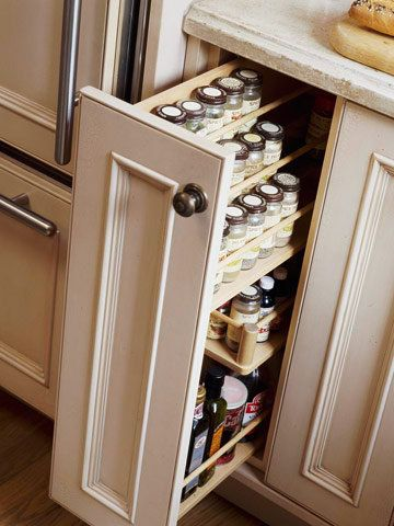 11 Clever Kitchen Storage Solutions; spice rack-put in top cabinets near stove