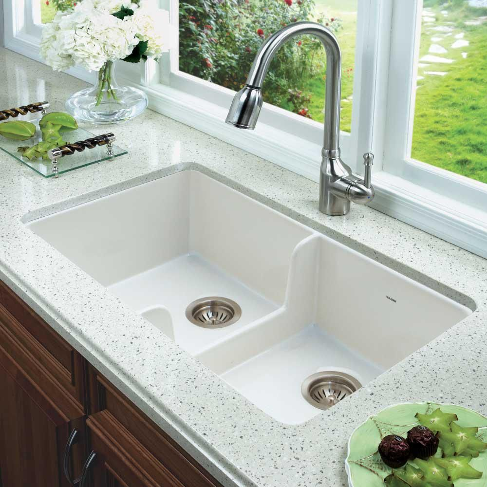 Houzer Platus Undermount Fireclay 32 In 50 50 Double Bowl Kitchen Sink In White With Low Divide Ptd 6400 Wh Undermount Kitchen Sinks Double Bowl Kitchen Sink Double Basin Kitchen Sink