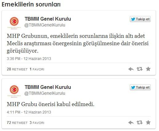 TBMM'de Gezi Parkı Direnişi Süresince Reddedilen 22 Önerge ----------------------------------Emeklilerin sorunları