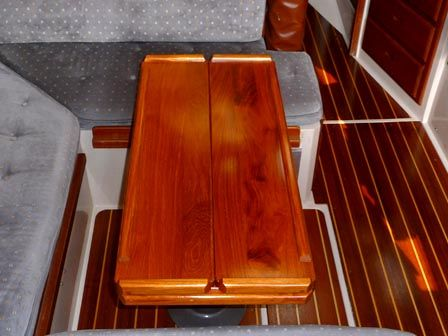 Folded Custom Teak Interior Boat Table For Your Catalina Sailboat
