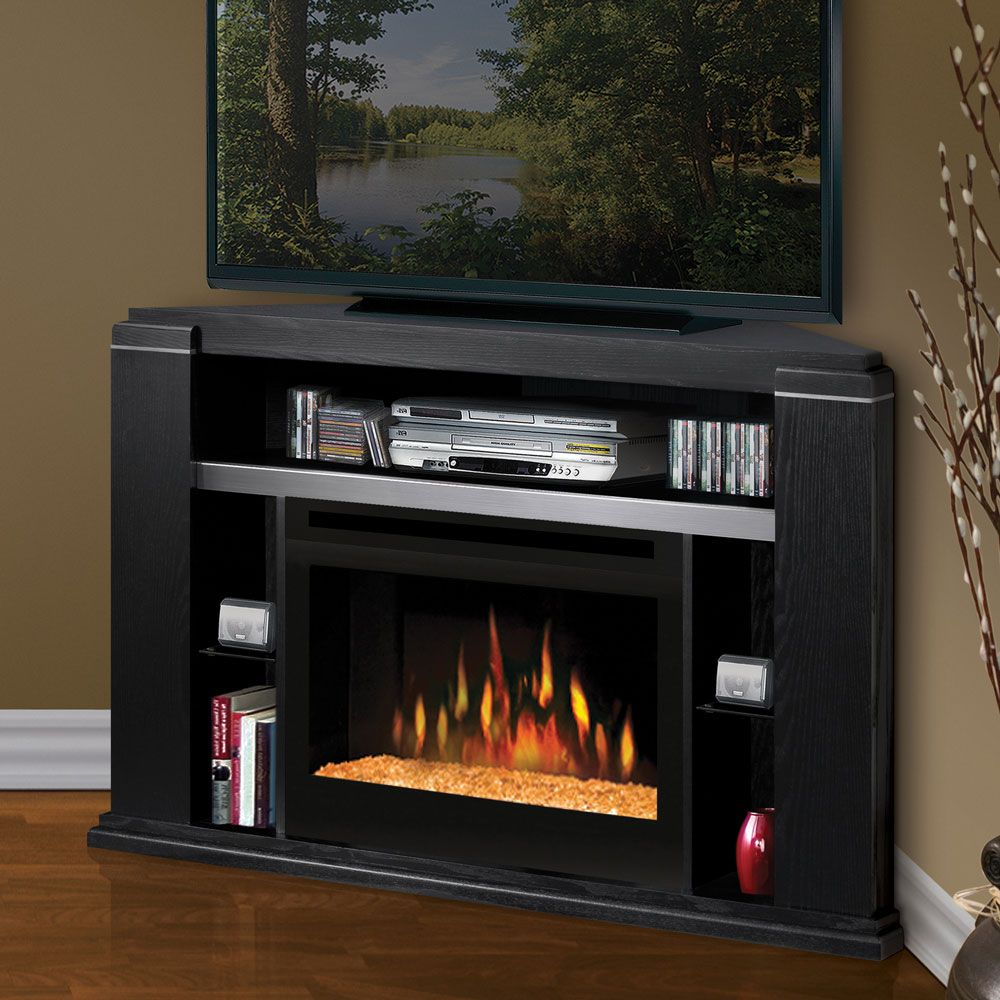 Dimplex Cloverdale Black Corner Electric Fireplace Media Console Glass  Embers   GDS25G 1154BA