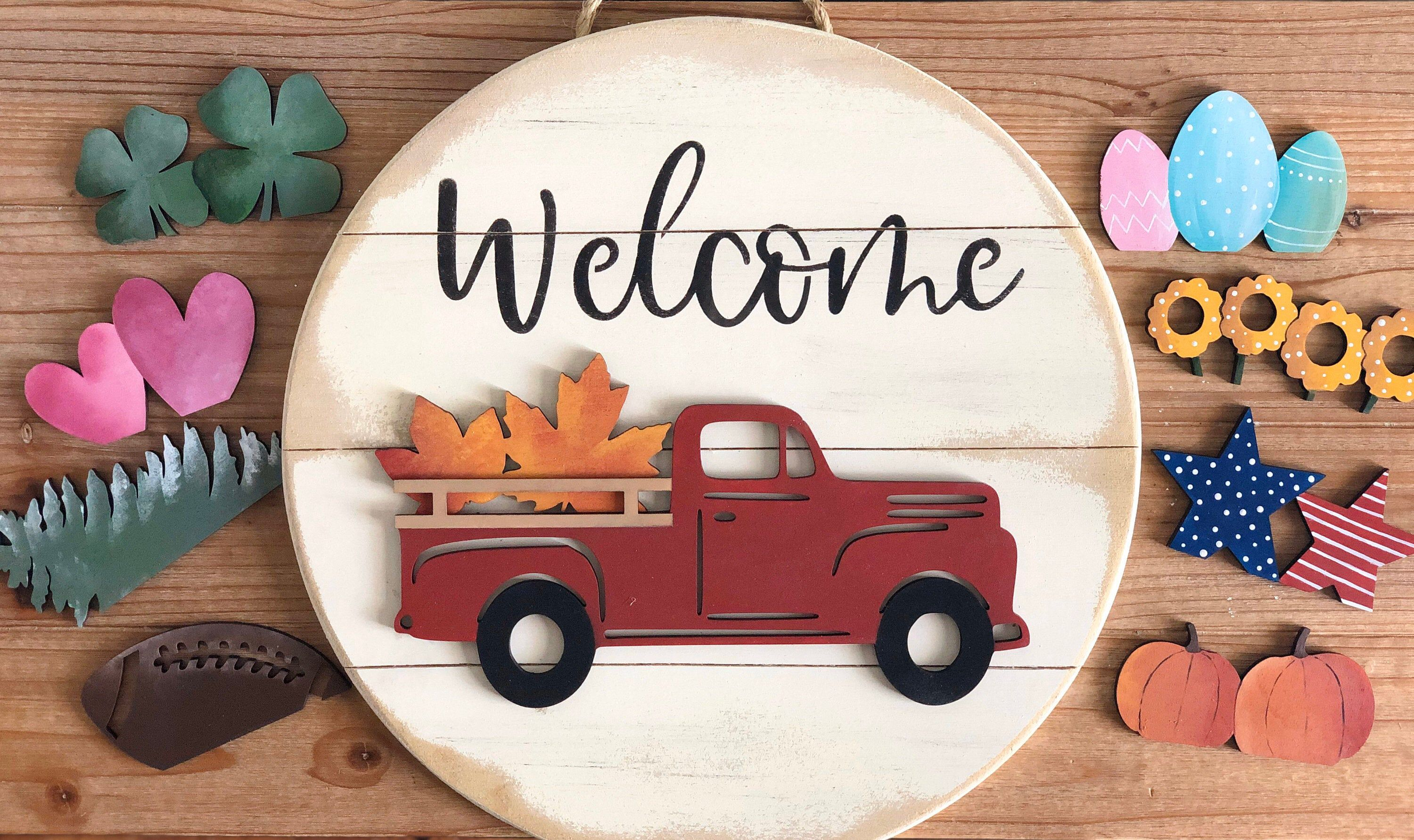 Interchangeable Truck Sign Truck Sign Interchangeable Sign 3d Sign Seasonal Sign Sign With Interchangeable Pieces Welcome Sign In 2020 Wood Working Gifts Truck Signs Crafts