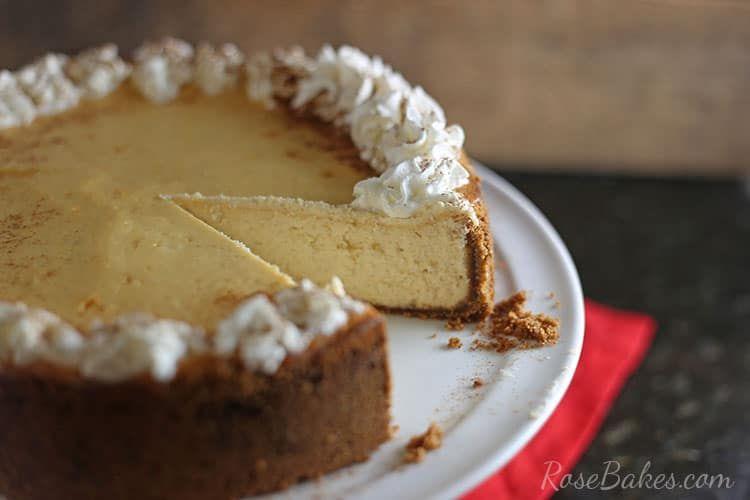 Eggnog Cheesecake with Gingersnap Crust #eggnogcheesecake