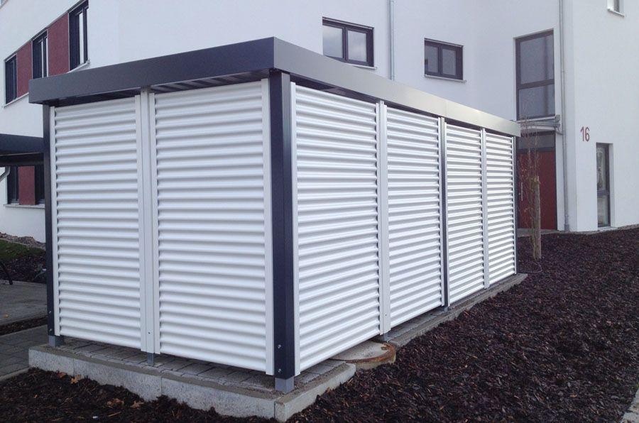 Myport Einhausung Anthrazit Mit Farblich Abgesetzter Stahlwelle Perfekt Geeignet Fur Die Sichere Verwahrung Von Fahrradern Carport Stahl Carport Einhausung