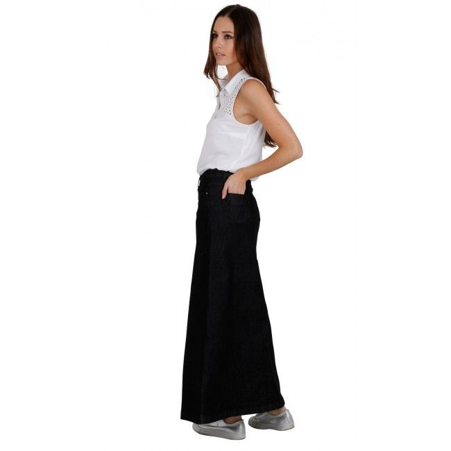 Black Denim Long Skirt. Denim maxi skirt in black. #denimskirt ...