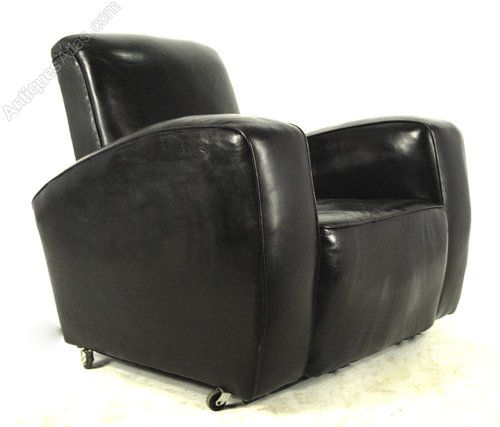 Black Leather Club Chair And Ottoman Cane Hanging Chairs Australia Pair Of Art Deco
