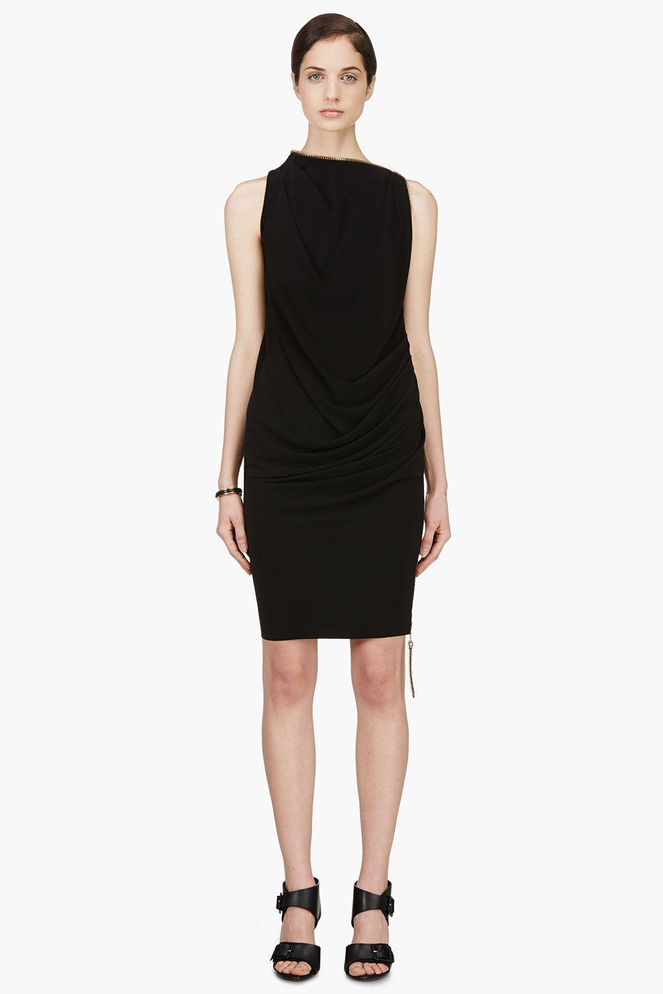 Denis gagnon black jersey zipper dress womenus pinterest