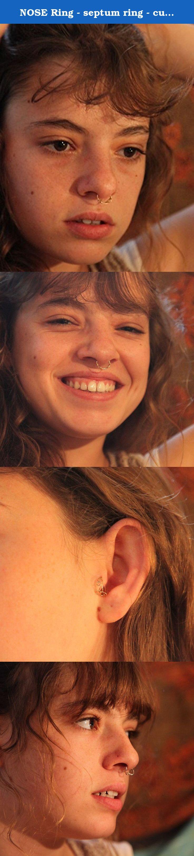 Septum piercing aesthetic  NOSE Ring  septum ring  curls Gold nose ring k yellow gold