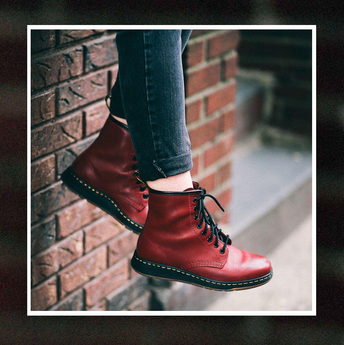 Le Happy wearing red Dr Martens Newton Lites  8349d3d7e9c