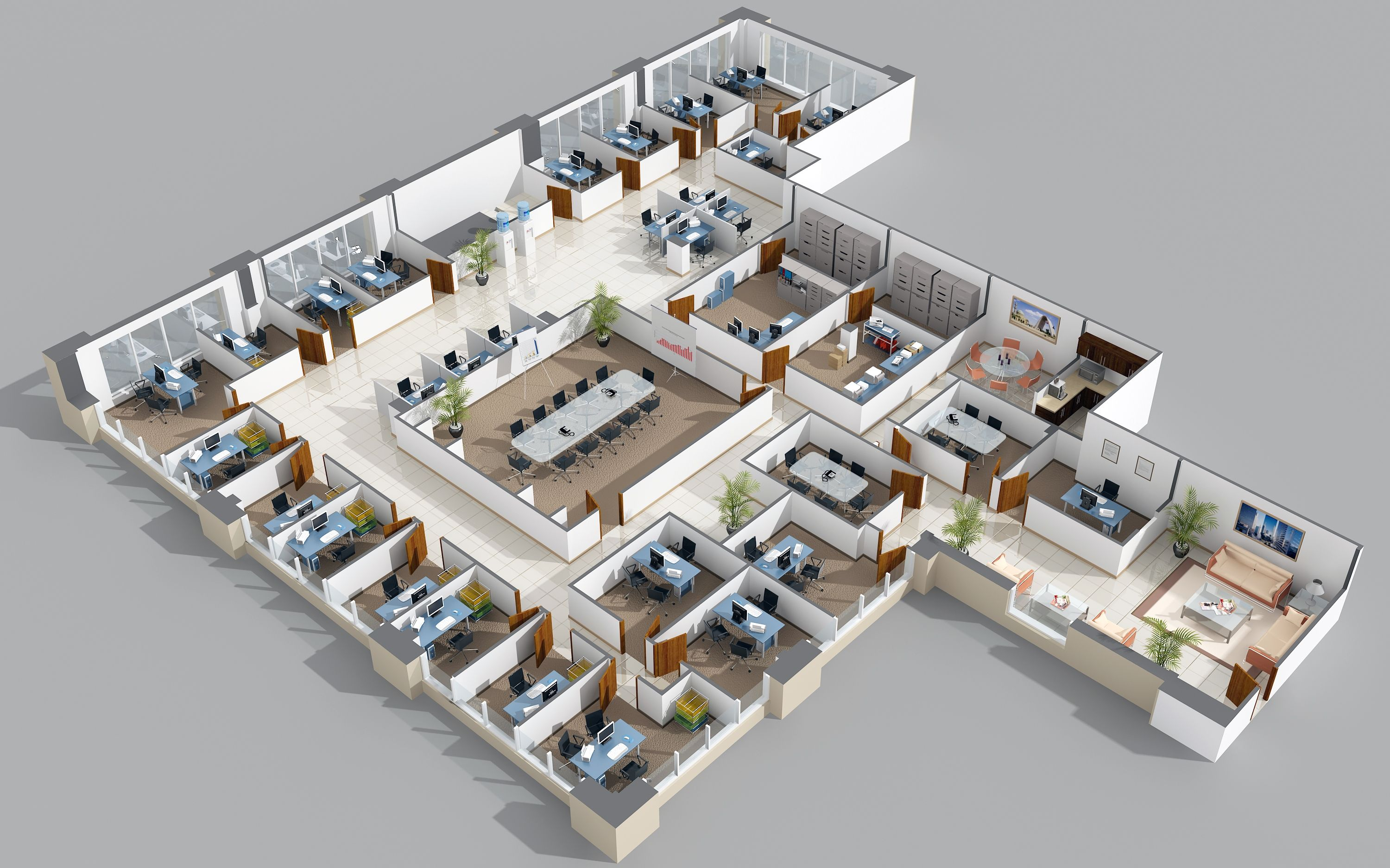 Office layout no doors veritas 99 jean pinterest for 3d floor plan design
