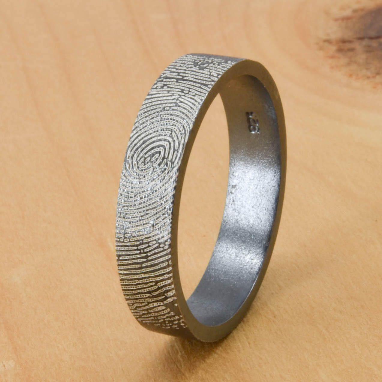 Fingerprint Ring Engraved Ring Engraved Jewelry Custom