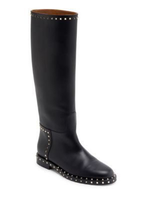 VALENTINO Soul Rockstud Tall Leather Boots. #valentino #shoes #boots