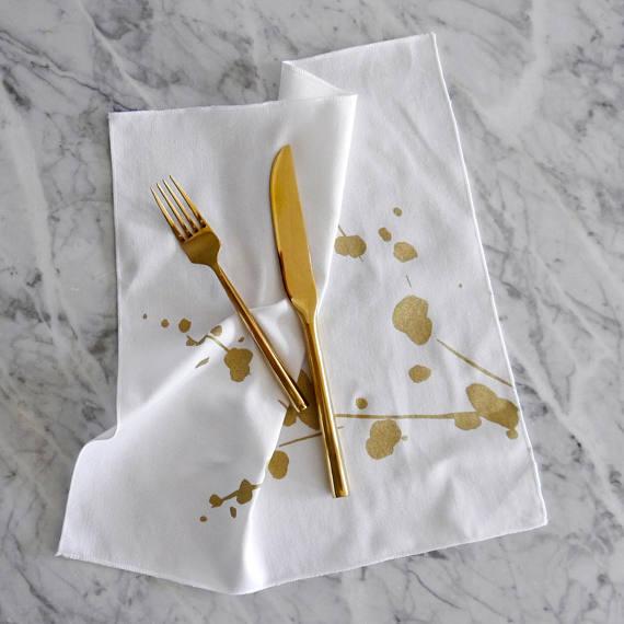 Metallic Gold And White Cloth Napkins Cotton Table Linens White Cloth Napkin Cloth Dinner Napkins Modern Table Linens