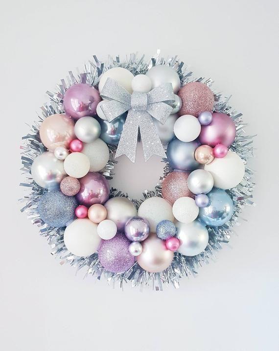 Christmas Bauble Wreath, Unicorn Inspired Bauble Wreath, Christmas Wreath, Festive Wreath, Pastel Bauble Wreath, Xmas Wreath, Wall Wreath