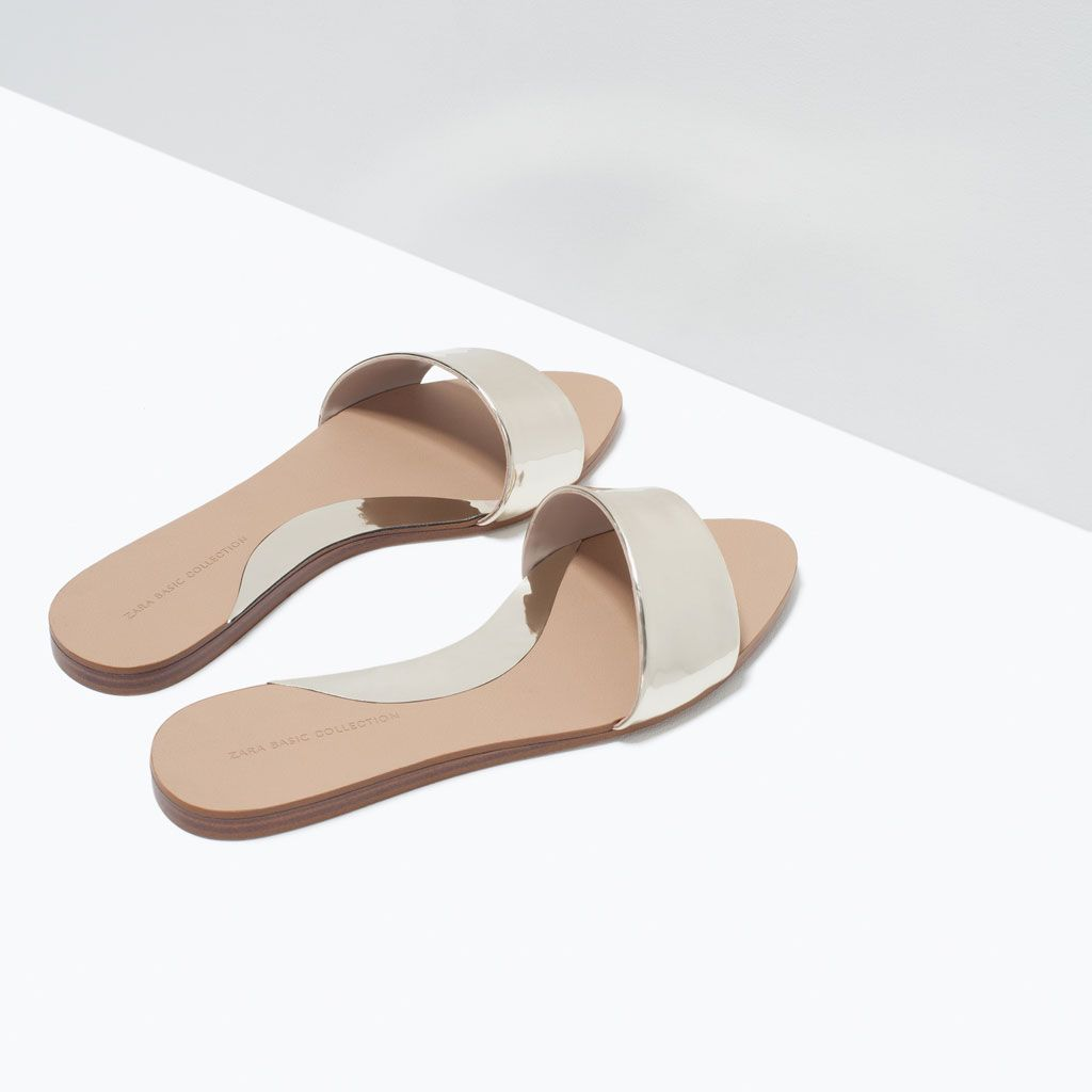 a1c3776c SHINY FLAT SLIDES-Shoes-Woman-SHOES & BAGS | ZARA United States | My ...