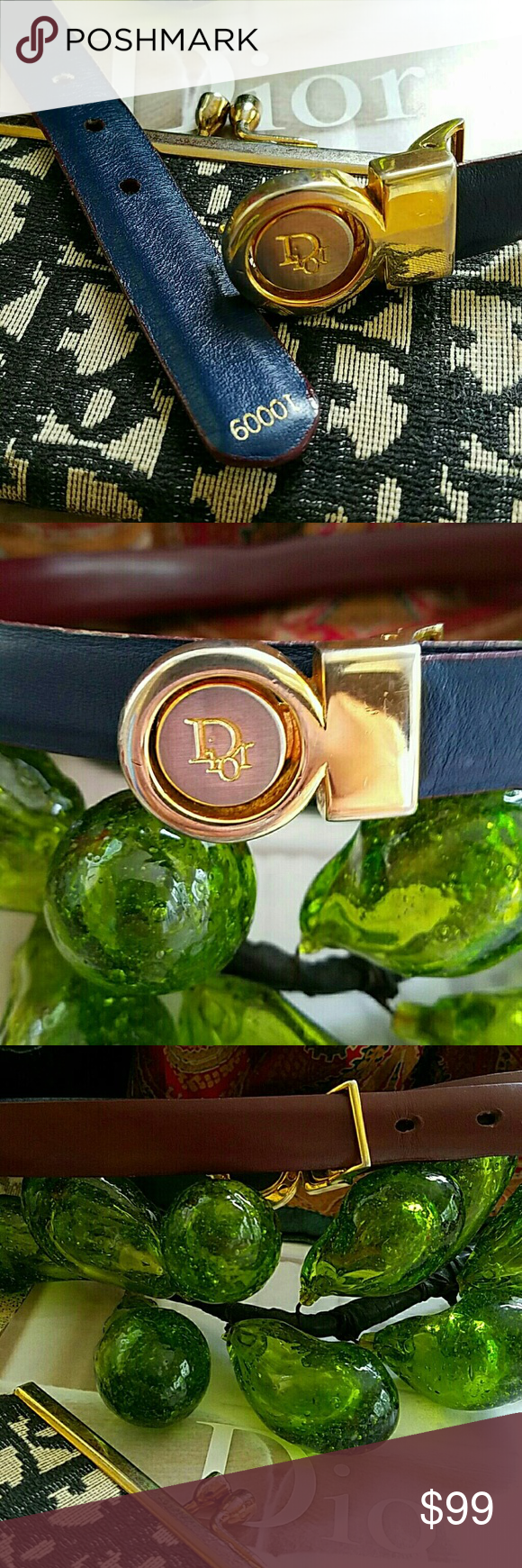 """VINTAGE REVERSABLE LEATHER DIOR BELT GORGEOUS RARE REVERSABLE DIOR VINTAGE BELT DIOR GOLD AND SILVER IDENTIFYING PEGGED BUCKLE, NAVY AND BORDEAUX LEATHER  34"""" TOTAL LENGTH PEG 28"""" AT FIRST NOTCH UP TO 32"""" .75 WIDE BUCKLE IS 1""""   GOLD EMBOSSED NUMERICAL IDENTITY. BUCKLE HAS SLIGHT WEAR AND SCRATCHING, LEATHER IN EXCELLENT CONDITION MINIR WEAR AT LEG HOLES Dior Accessories Belts"""