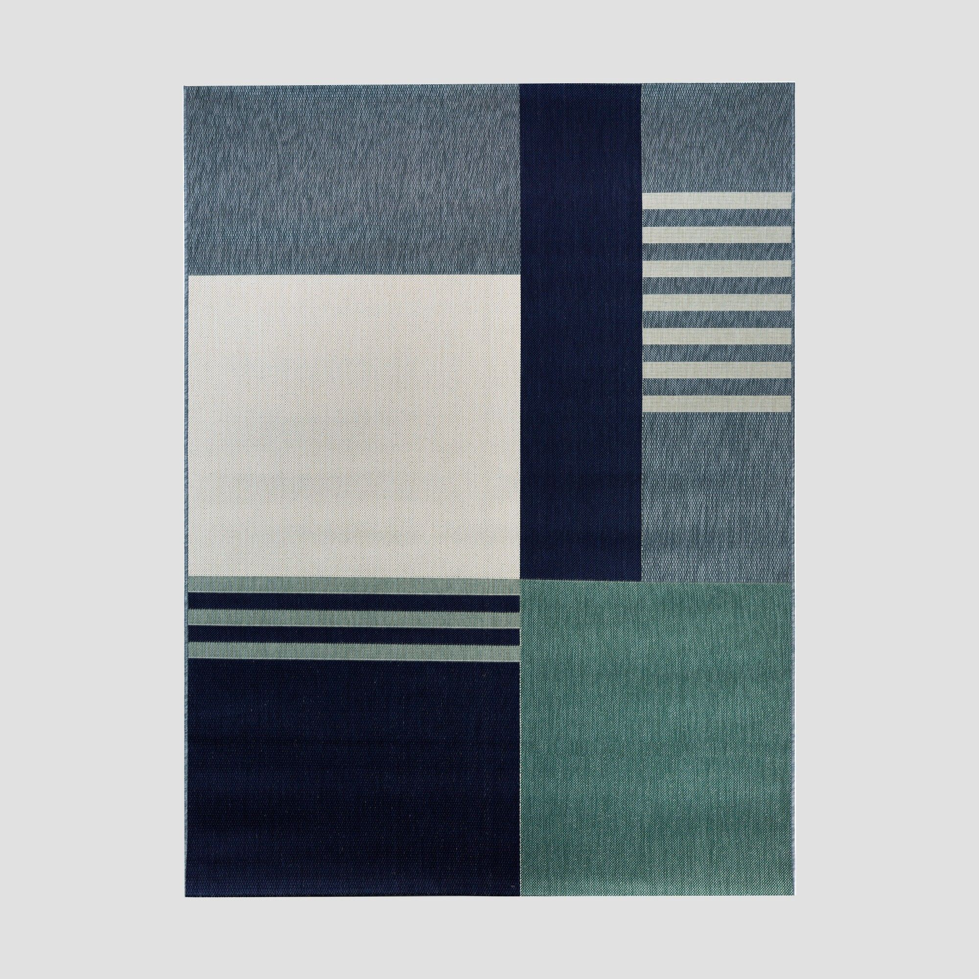 5 X 7 Stripe Block Outdoor Rug Teal Project 62 Outdoor Rugs Rugs Cool Rugs