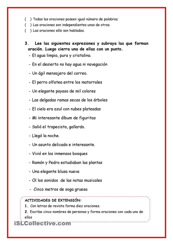 La Oracion Gramatical La Oracion Gramatical Ejercicios De Gramatica Oraciones