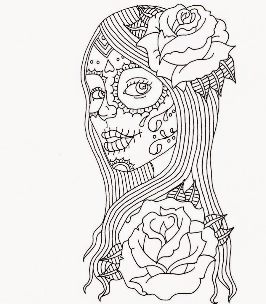 Free Printable Day of the Dead Coloring Pages Pretty woman Adult