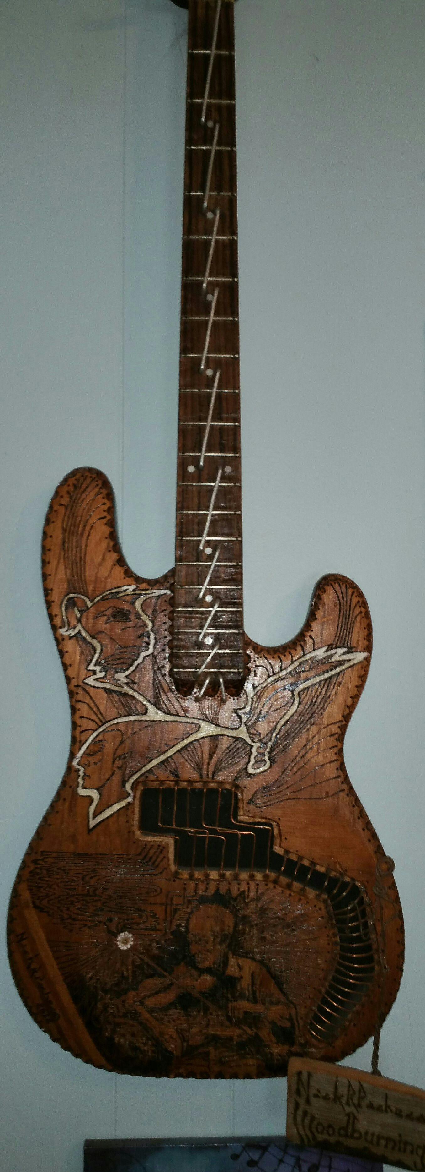 Repurposed Guitar Wood Burning Art