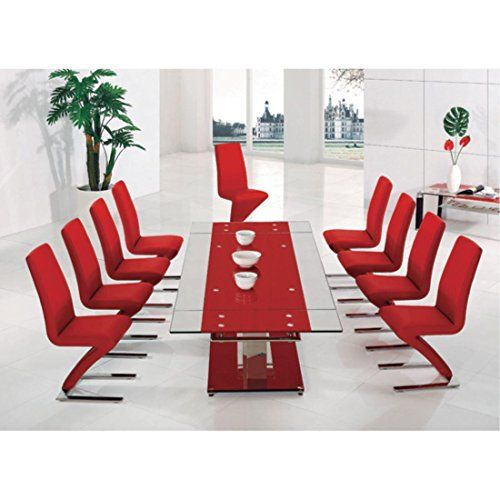 prague red extending glass dining table and 8 nori chairs lux