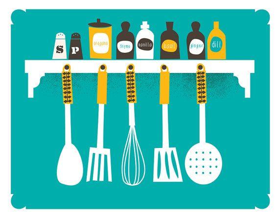 Küche Drucken Küche Kunst Spice Rack & Küche von strawberryluna