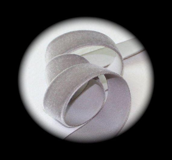 "Velvet -  7/8"" x 10 yd spool, 100% Rayon (Picture is of 5/8"") - Soft Hand, German Velvet , Medium Gray,"