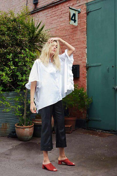 9ce0c3931 leather pants, mules and oversized shirt | STREET STYLE | Fashion ...