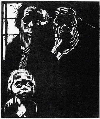 Artist: Kathe Kollwitz  Title: Hunger  Date of artwork: 1925  Nationality of artist: German