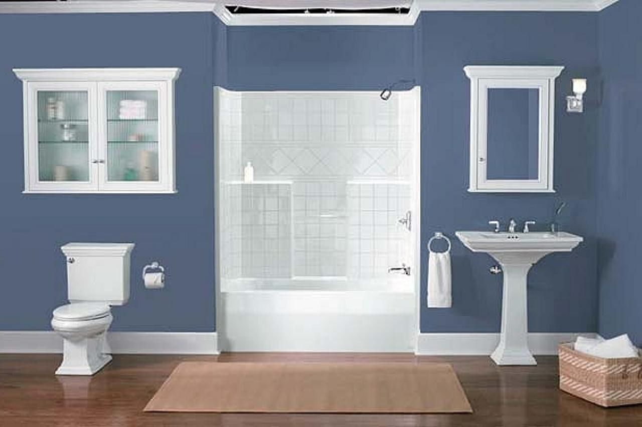 Master Bathroom Paint Color Reveal in 2020 | Blue bathroom