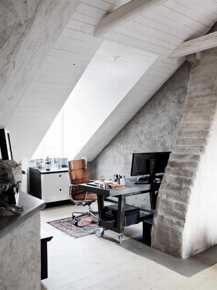 A Small White Attic Home Office   Home Design   Pinterest   Attic ...