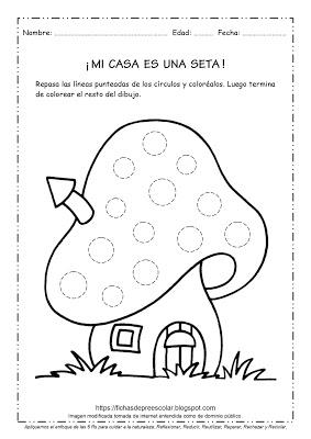 Fichas De Educación Preescolar Mi Casa Es Una Seta Fichas De Grafomotricidad Con Círculos Para Imprimi Fichas Hojas De Ejercicios Para Niños Grafomotricidad