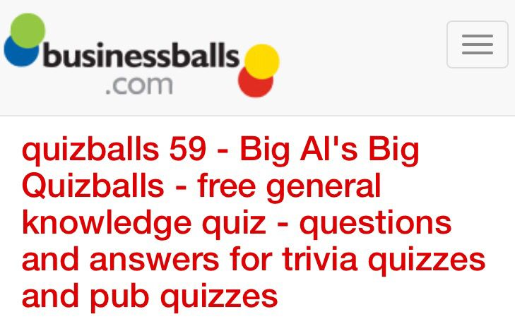 quizballs 59 - Big Al's Big Quizballs - free general knowledge quiz