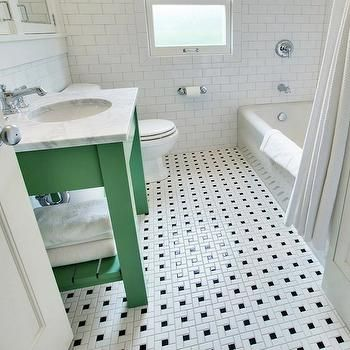 Vintage Black And White Bathroom Floor Design Ideas With The