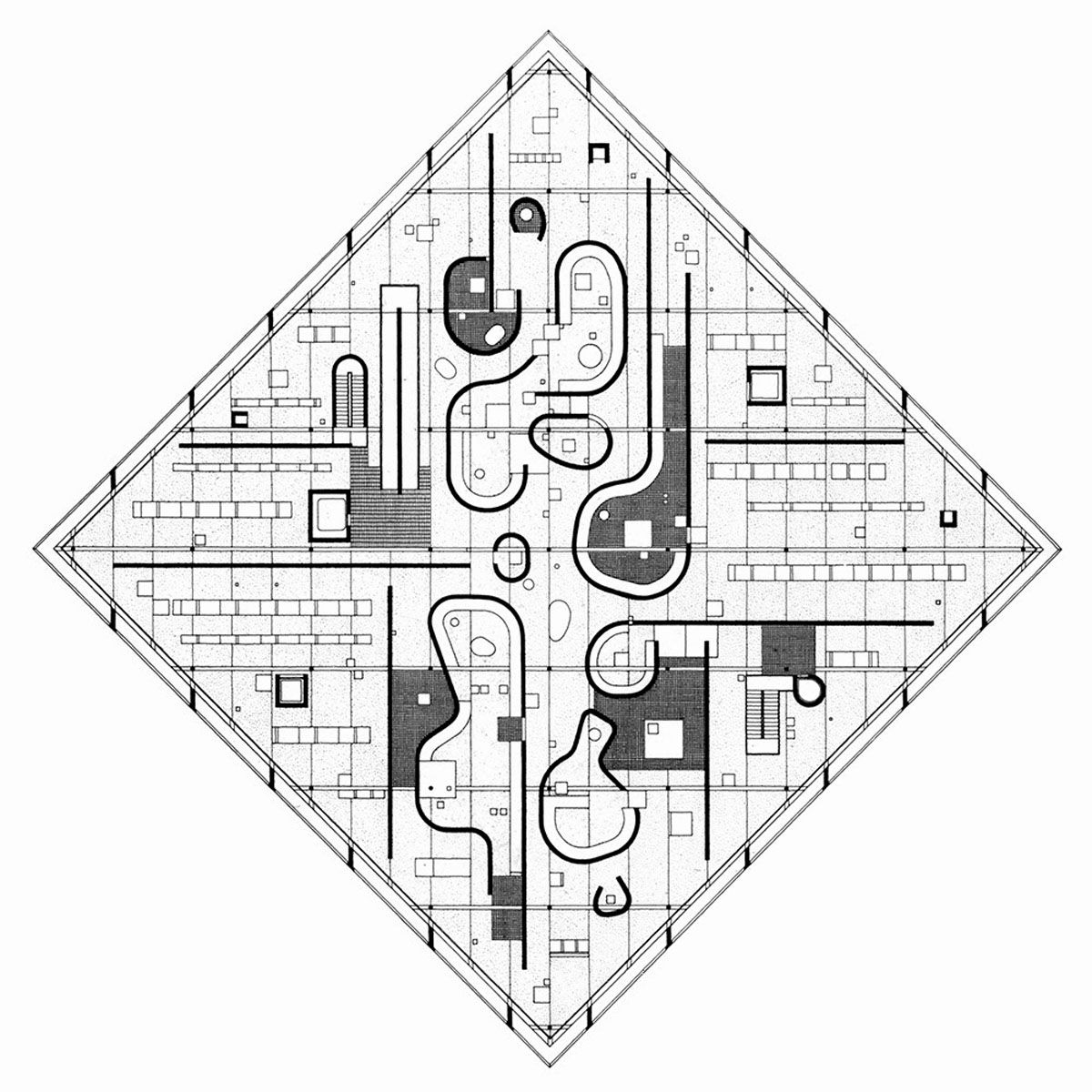 john hejduk, floor plan, diamond house, 1967 © hejduk | john