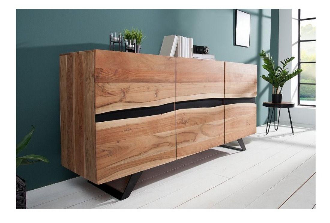 bois massif et en metal dressoir