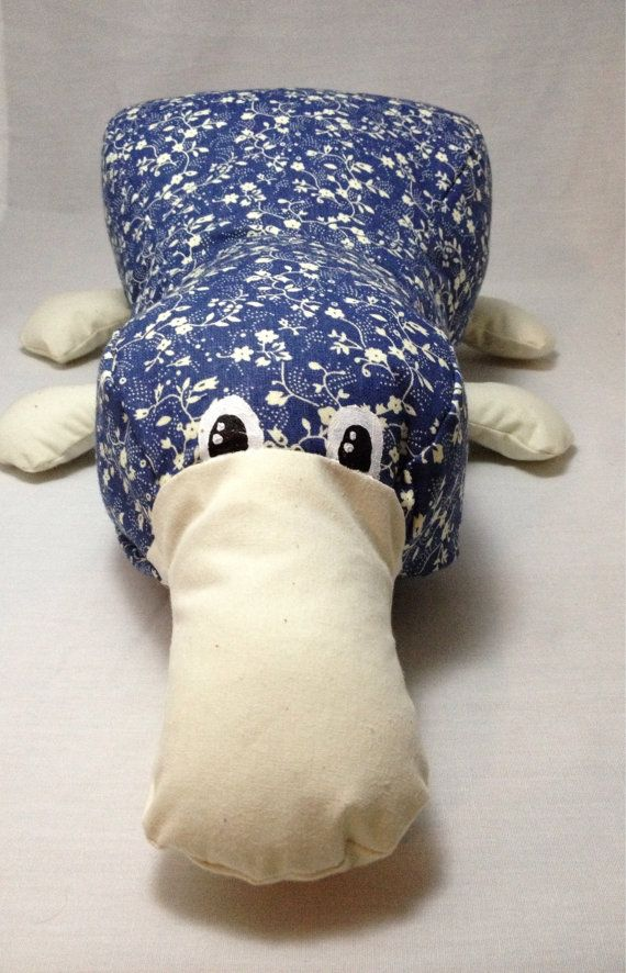 Platypus plush / stuffed animal / blue flower pattern platypus on Etsy, $20.00