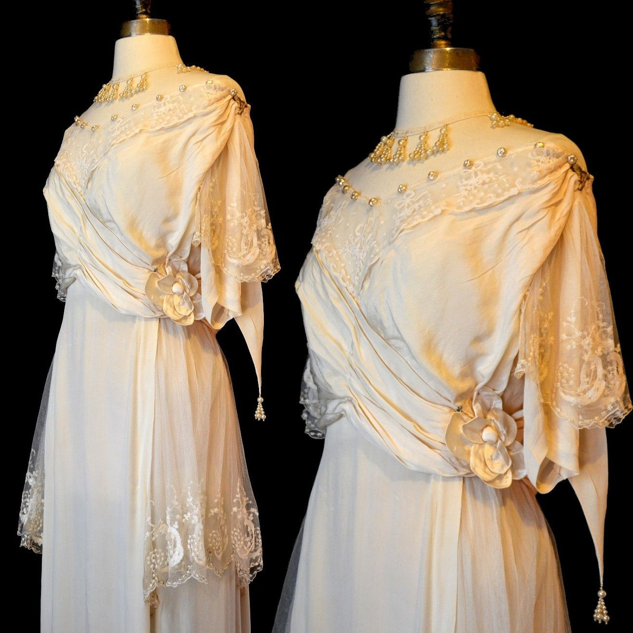 Ivory silk and lace wedding dress  Antique Edwardian Ivory Silk Wedding Dress M Embroidered Tulle Lace