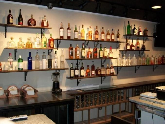 Shelves behind bar for bottles/glasses.