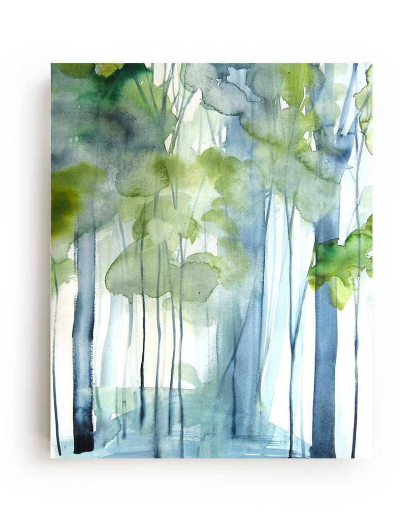New Growth Canvas Print Landscape Artwork Tree Art Watercolor Art