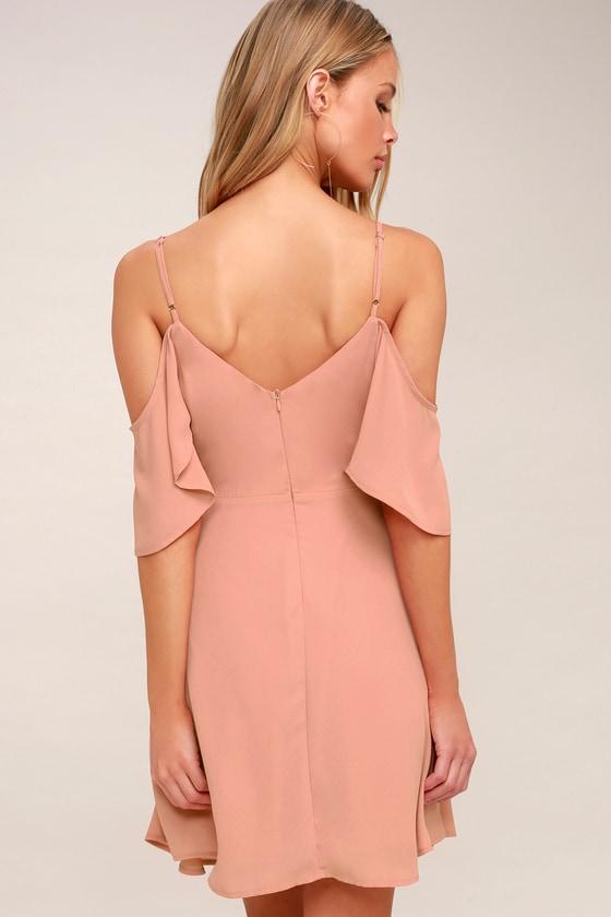 c4e5841c6dc1 Lulus | Candlelight Bistro Blush Pink Off-the-Shoulder Skater Dress | Size  X-Large | 100% Polyester