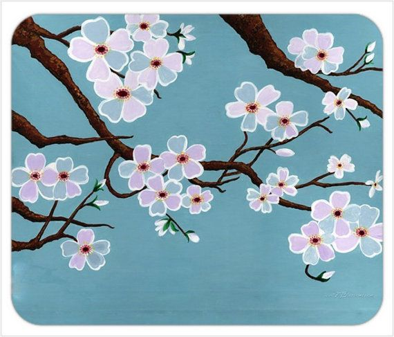 Teal Blue Cherry Blossom Tree Mousepad Teal Blue Sakura Mousepad Cherry Blossom Tre Cherry Blossom Painting Cherry Blossom Painting Acrylic Sakura Painting