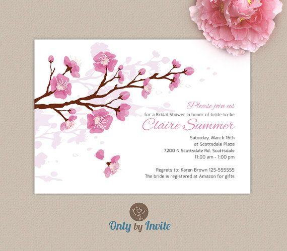 Cherry Blossom Bridal Shower Invitation Blush Por Onlybyinvite