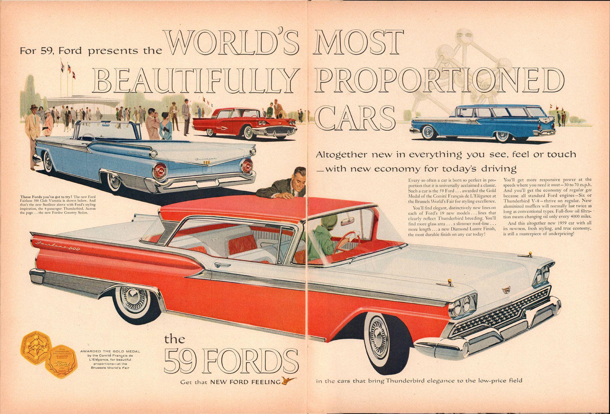 1959 Ford Fairlane 500 Thunderbird Sunliner Fordor Country