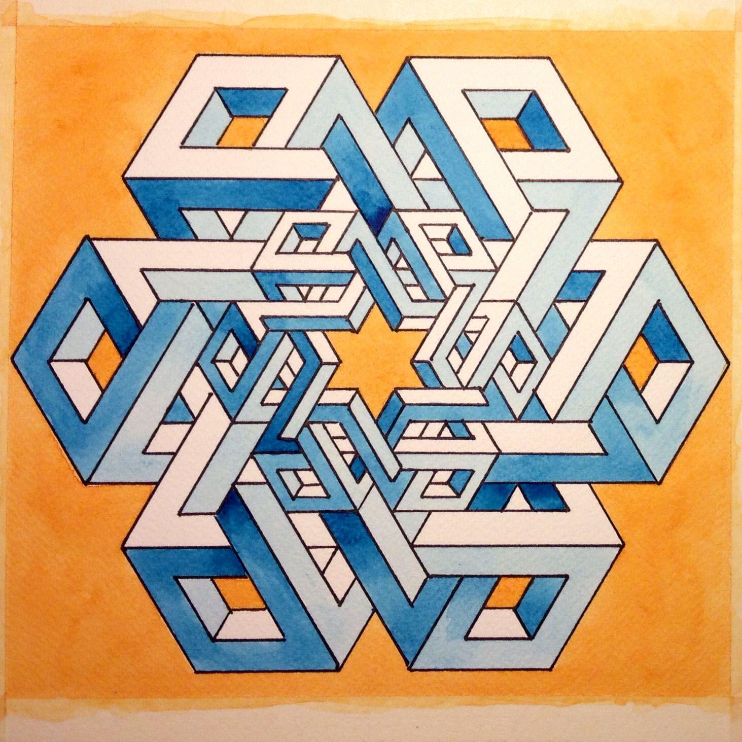 Impossible Geometry Escher Mc Escher Optische Illusie Tekening Optische Illusies