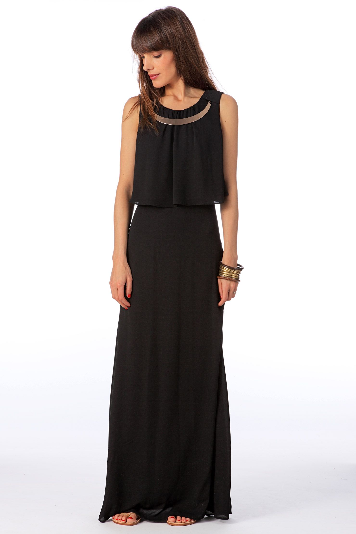 c3530a7d7 Vestido largo - siraz sl long dress km - Negro Vero Moda en MonShowroom.com