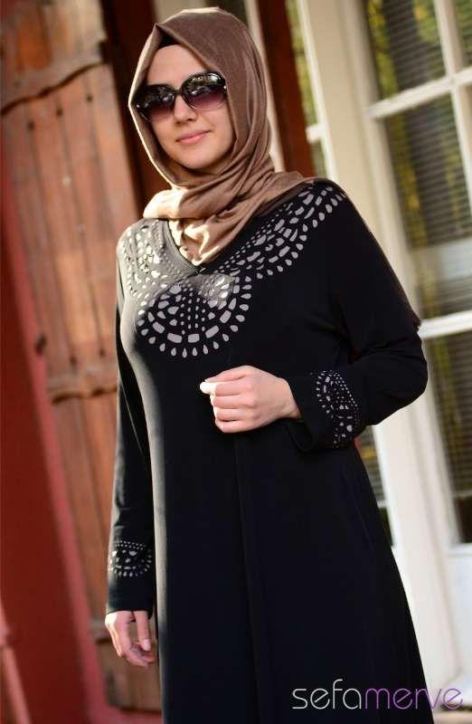a095e07c7fd64 büyük-beden-tesettür-siyah-elbise-modelleri. | ☙Modest Outfits ...
