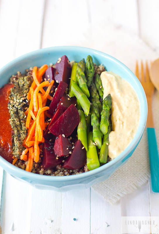 Quinoa Superfood Bowl via Linda Wagner1 bunch asparagus 4 large beets peeled and cubed – I bought mine ready to use from Trader Joe's 1 cup shredded carrots 2 cups cooked quinoa (I used a mix of white, black, and red quinoa) 2 Tbs flax seeds 2 Tbs sesame seeds 2 Tbs slivered almonds hummus – I used store bought, you can also use this bean-free recipe. spicy kale & walnut pesto sriracha