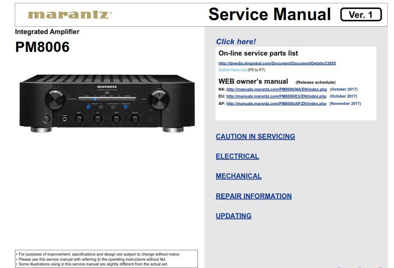 Marantz Pm8006 Amplifiers Service Manual And Repair Guide
