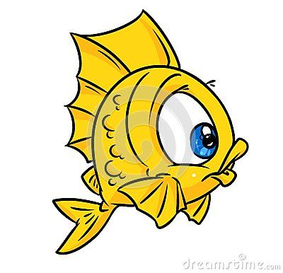 Fish Yellow Cartoon Illustration Isolated Animal Character Cartoon Illustration Fish Art Cartoon Fish